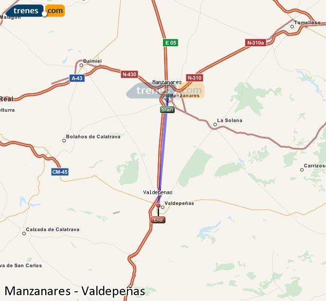 Enlarge map Trains Manzanares to Valdepeñas