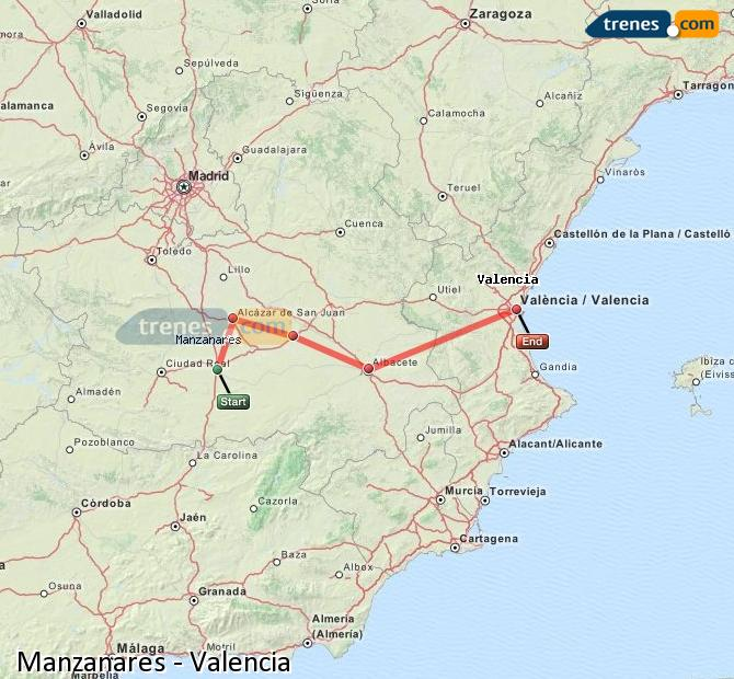 Enlarge map Trains Manzanares to Valencia