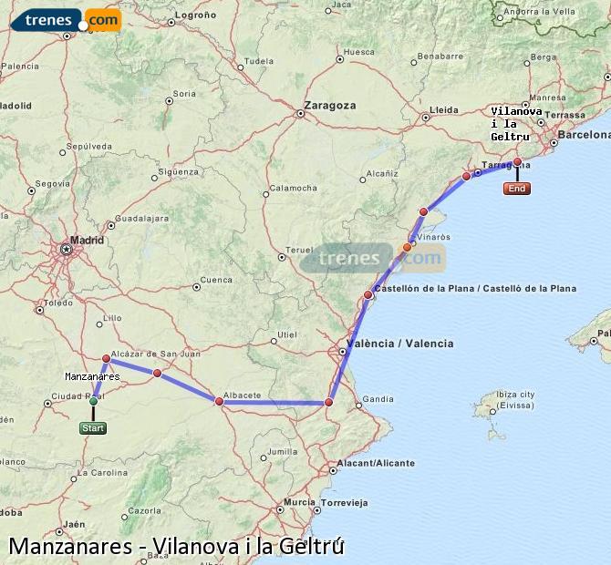Enlarge map Trains Manzanares to Vilanova i la Geltrú