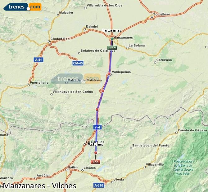Enlarge map Trains Manzanares to Vilches