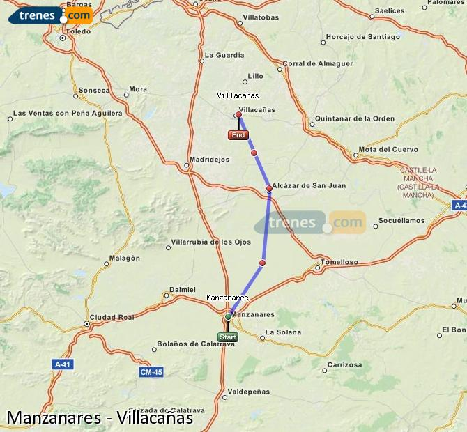 Ampliar mapa Comboios Manzanares Villacañas
