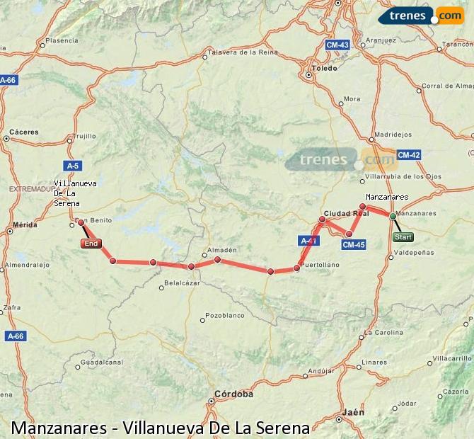 Agrandir la carte Trains Manzanares Villanueva De La Serena