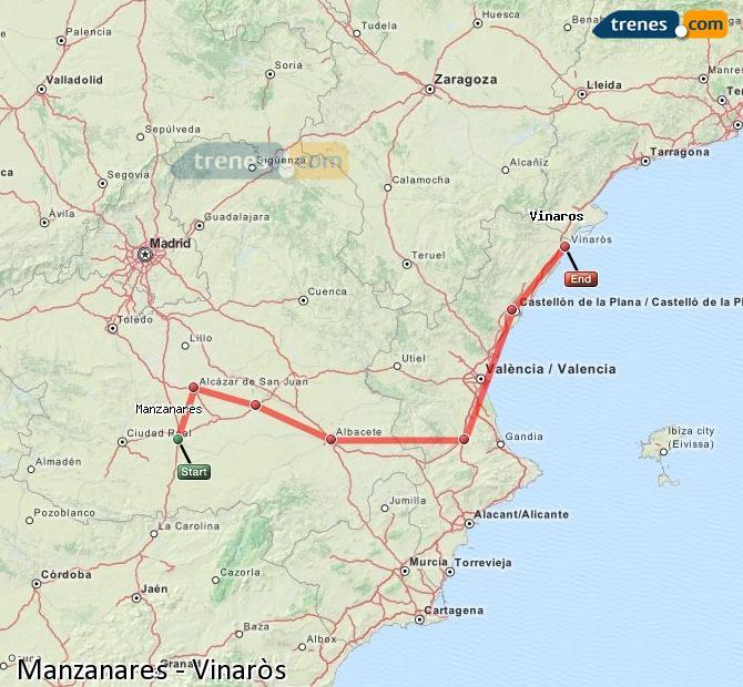 Ampliar mapa Comboios Manzanares Vinaròs