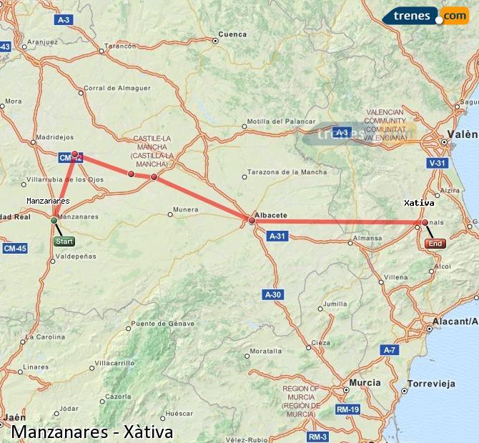Ampliar mapa Comboios Manzanares Xàtiva
