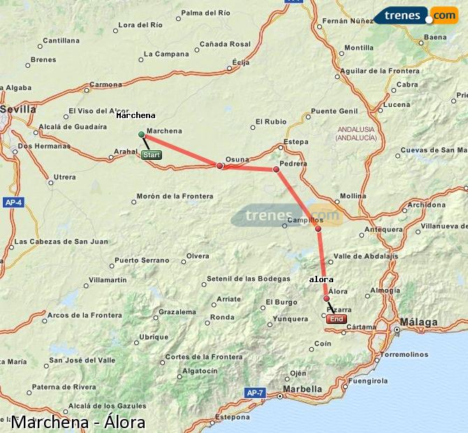 Enlarge map Trains Marchena to Álora