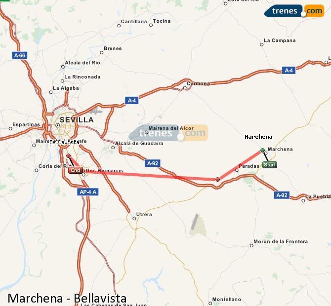 Karte vergrößern Züge Marchena Bellavista