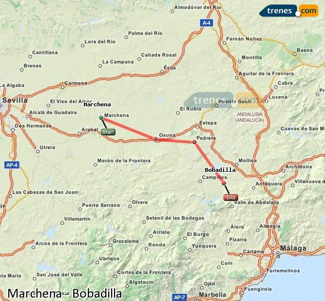 Enlarge map Trains Marchena to Bobadilla