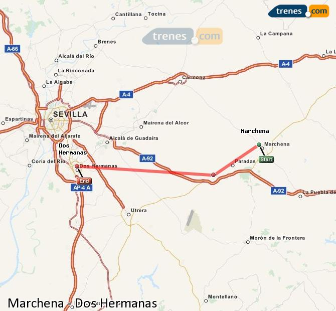 Agrandir la carte Trains Marchena Dos Hermanas