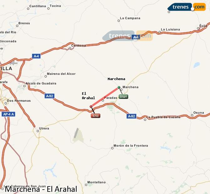 Enlarge map Trains Marchena to El Arahal