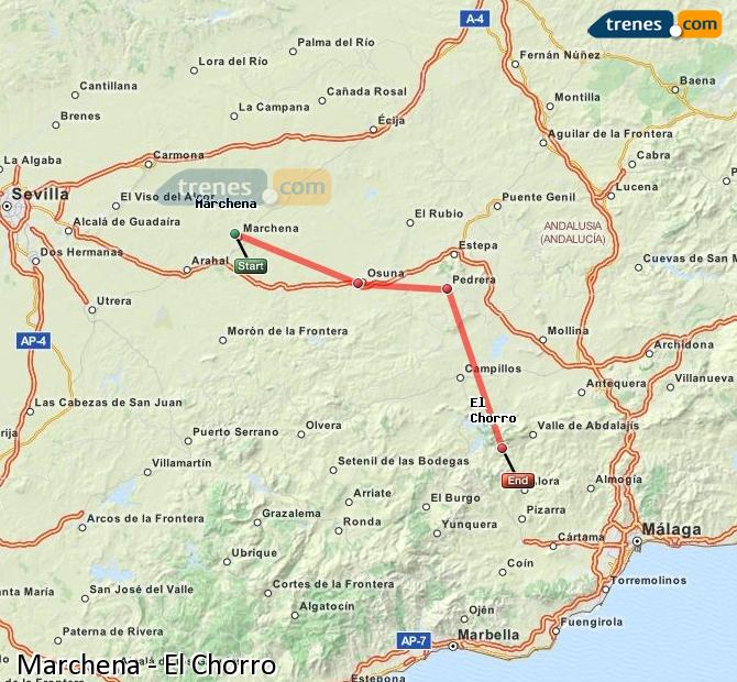Enlarge map Trains Marchena to El Chorro