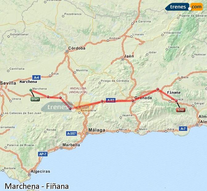 Agrandir la carte Trains Marchena Fiñana