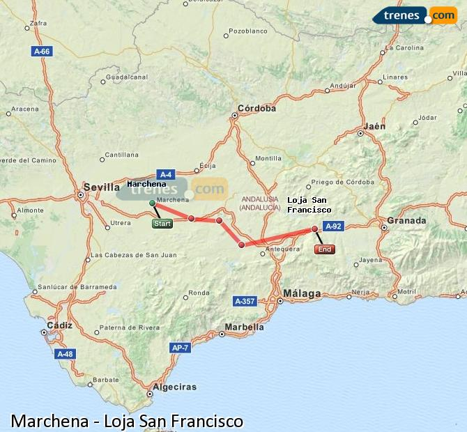 Enlarge map Trains Marchena to Loja San Francisco