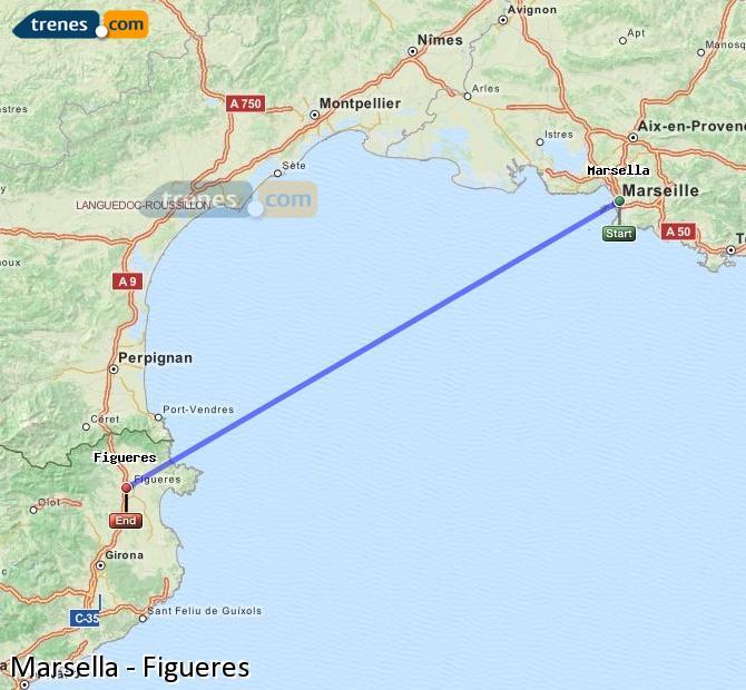 Agrandir la carte Trains Marsella Figueres