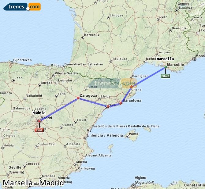 Karte vergrößern Züge Marsella Madrid