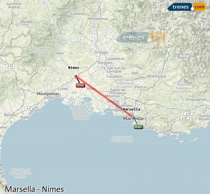 Karte vergrößern Züge Marsella Nimes