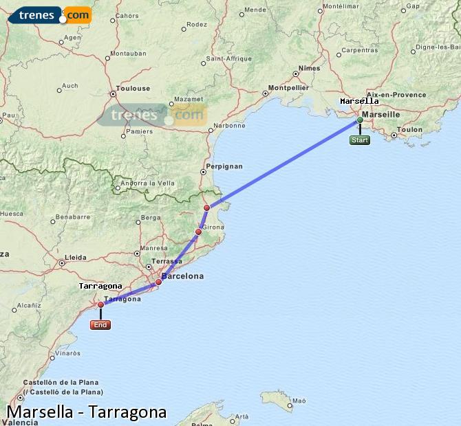 Ingrandisci la mappa Treni Marsella Tarragona