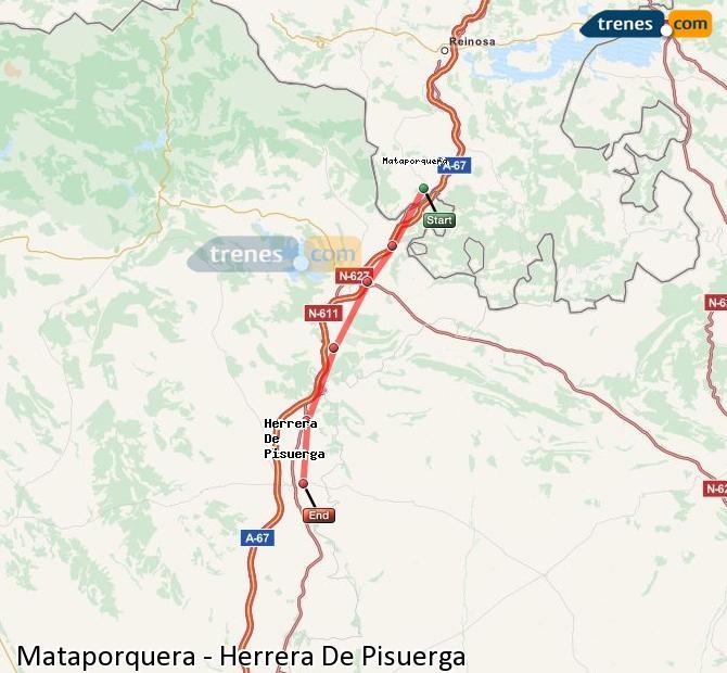 Enlarge map Trains Mataporquera to Herrera De Pisuerga