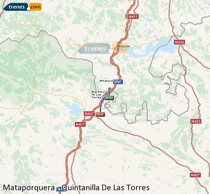Enlarge map Trains Mataporquera to Quintanilla De Las Torres