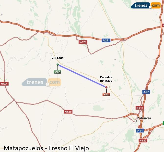 Karte vergrößern Züge Matapozuelos Fresno El Viejo