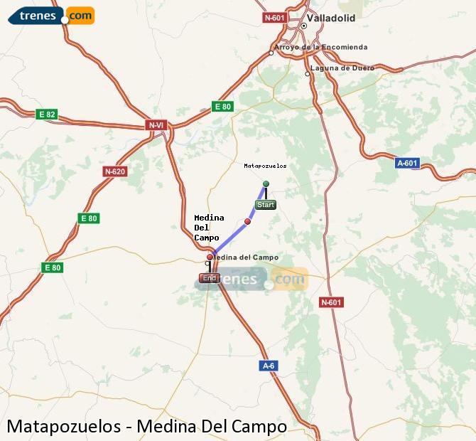 Karte vergrößern Züge Matapozuelos Medina Del Campo