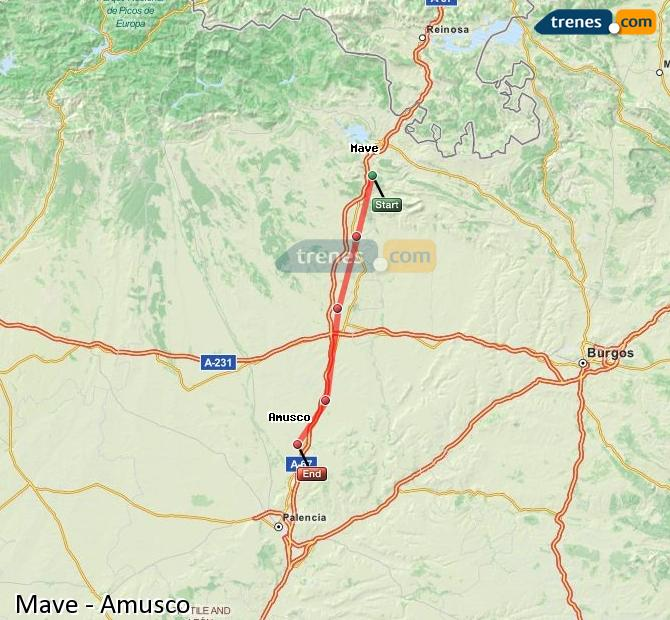 Enlarge map Trains Mave to Amusco