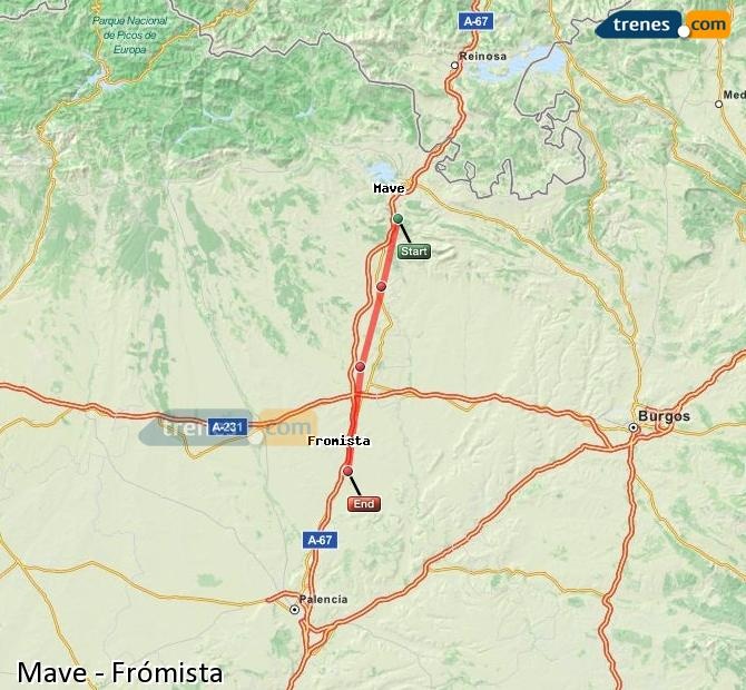 Enlarge map Trains Mave to Frómista