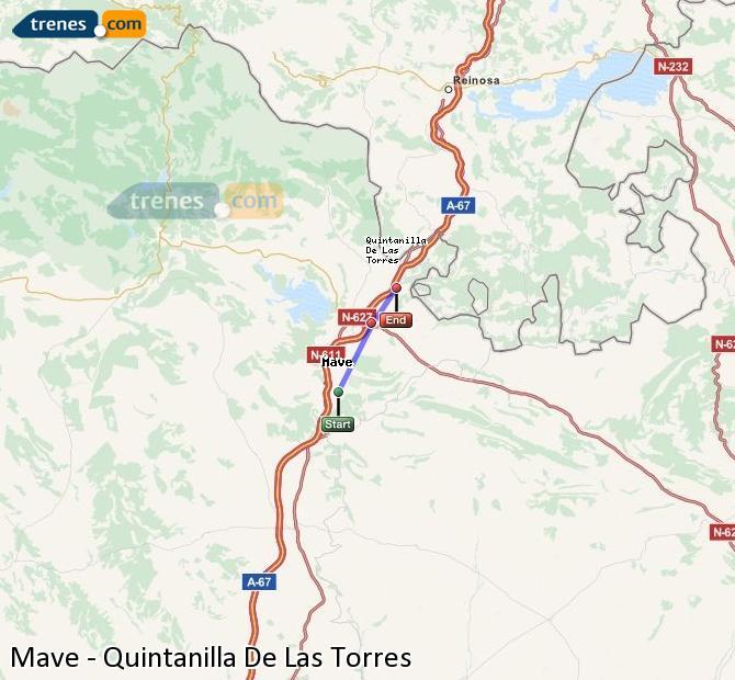 Enlarge map Trains Mave to Quintanilla De Las Torres