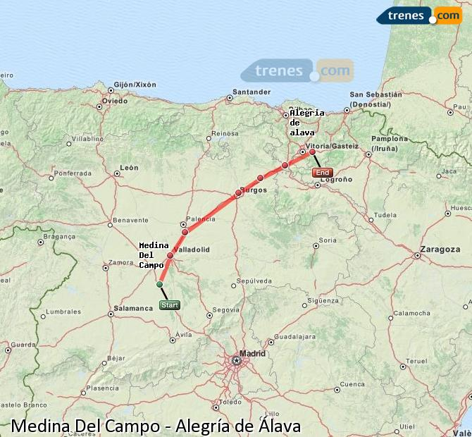 Karte vergrößern Züge Medina Del Campo Alegría de Álava