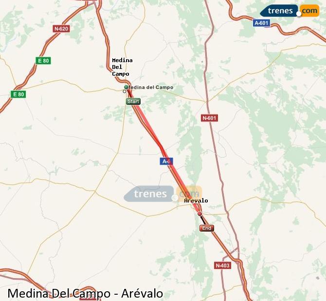 Ingrandisci la mappa Treni Medina Del Campo Arévalo