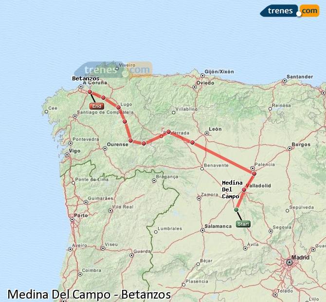 Ingrandisci la mappa Treni Medina Del Campo Betanzos