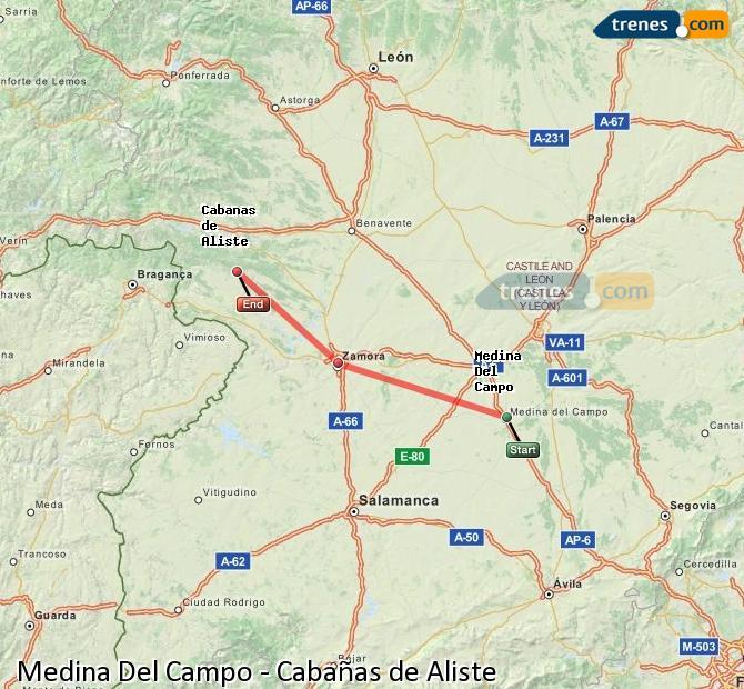 Ampliar mapa Trenes Medina Del Campo Cabañas de Aliste