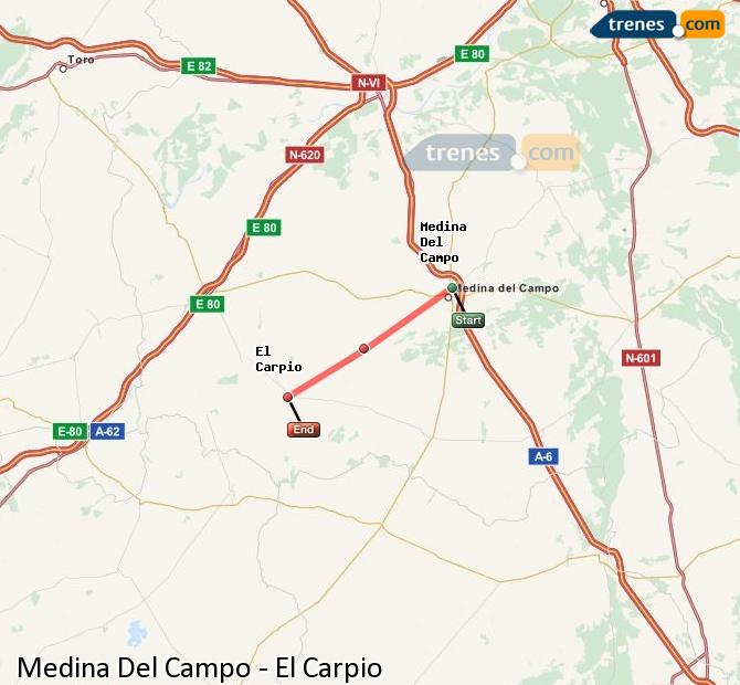 Enlarge map Trains Medina Del Campo to El Carpio