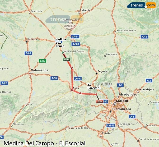 Ingrandisci la mappa Treni Medina Del Campo El Escorial