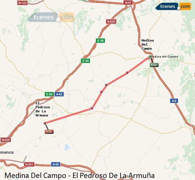 Enlarge map Trains Medina Del Campo to El Pedroso De La Armuña