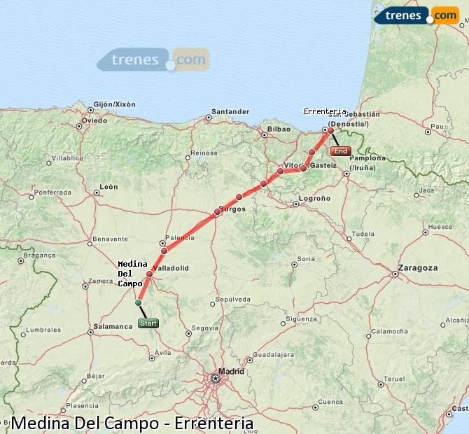 Karte vergrößern Züge Medina Del Campo Errenteria