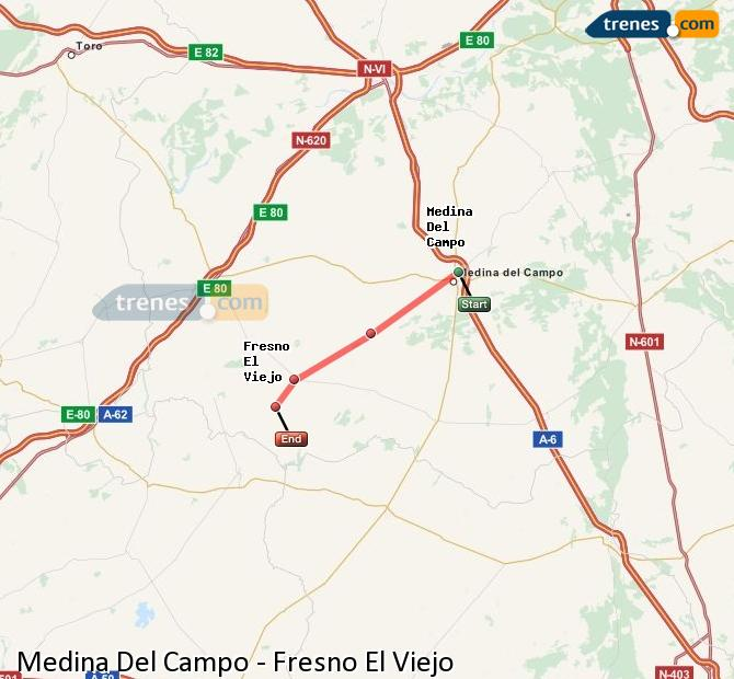 Enlarge map Trains Medina Del Campo to Fresno El Viejo
