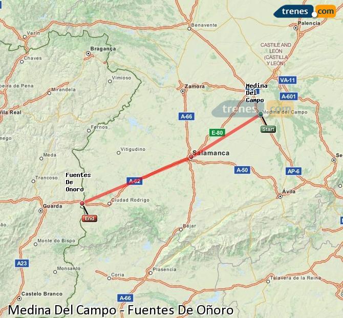 Enlarge map Trains Medina Del Campo to Fuentes De Oñoro