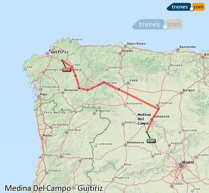 Ingrandisci la mappa Treni Medina Del Campo Guitiriz