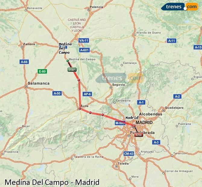 Ampliar mapa Trenes Medina Del Campo Madrid