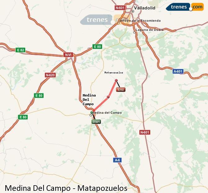 Enlarge map Trains Medina Del Campo to Matapozuelos
