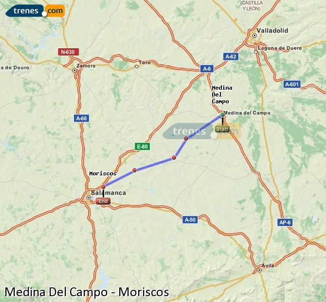 Enlarge map Trains Medina Del Campo to Moriscos