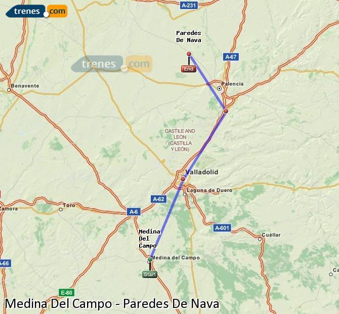 Agrandir la carte Trains Medina Del Campo Paredes De Nava