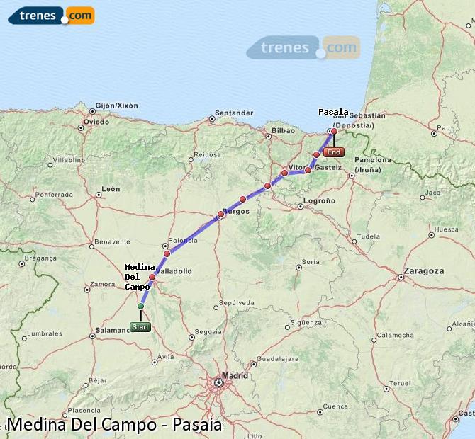 Enlarge map Trains Medina Del Campo to Pasaia