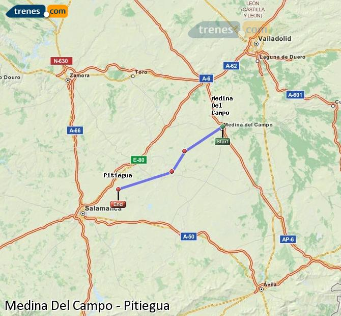 Enlarge map Trains Medina Del Campo to Pitiegua