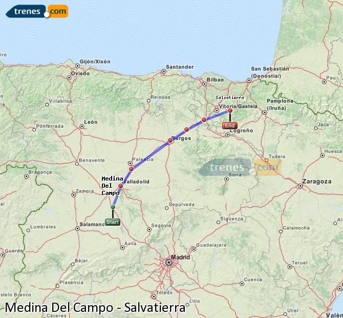 Agrandir la carte Trains Medina Del Campo Salvatierra