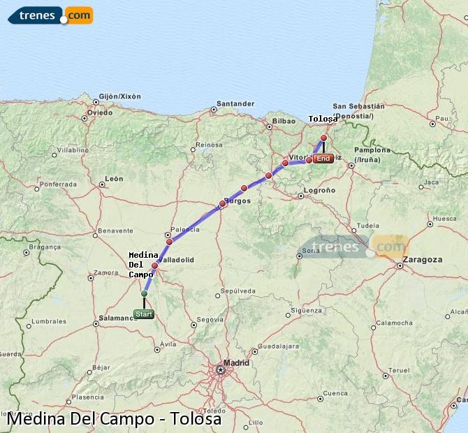 Agrandir la carte Trains Medina Del Campo Tolosa