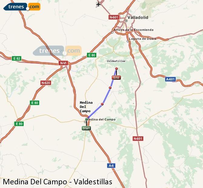 Enlarge map Trains Medina Del Campo to Valdestillas