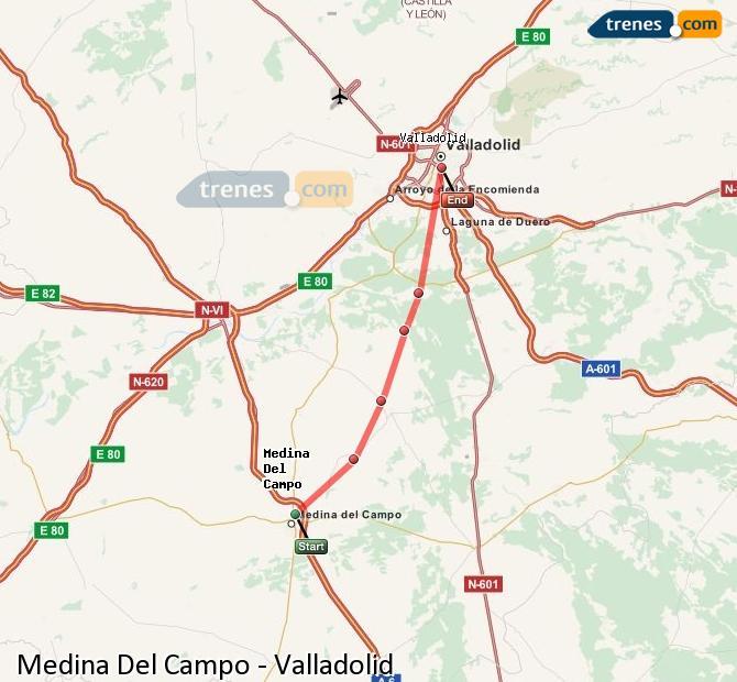Enlarge map Trains Medina Del Campo to Valladolid