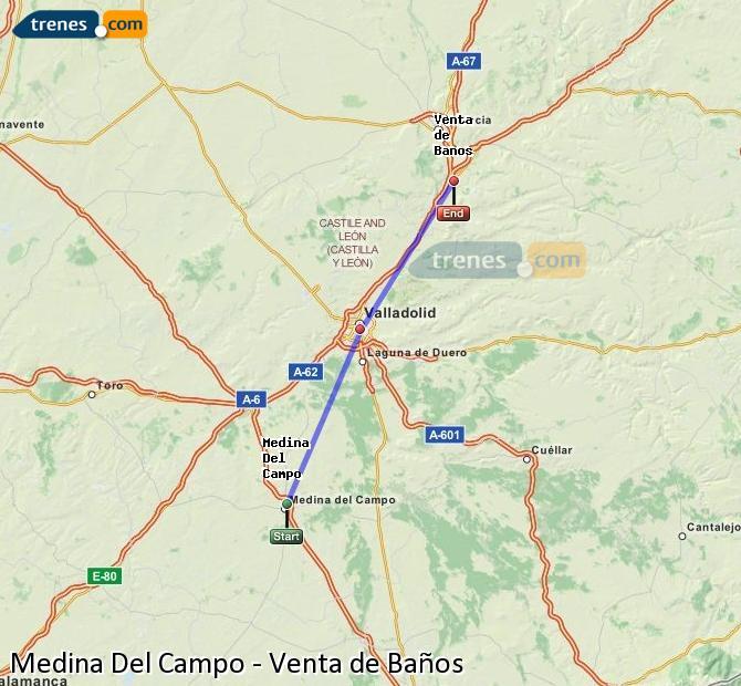 Ampliar mapa Trenes Medina Del Campo Venta de Baños