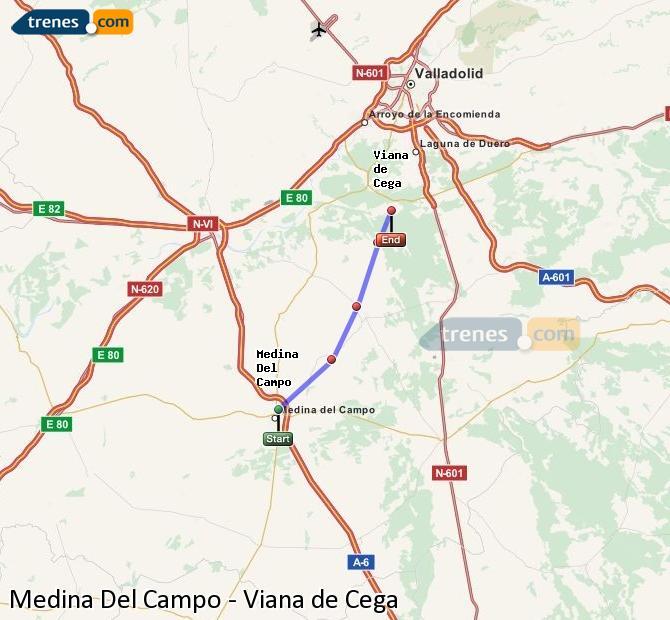 Enlarge map Trains Medina Del Campo to Viana de Cega